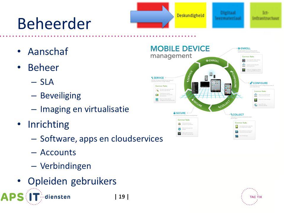 | 19 | Beheerder Aanschaf Beheer – SLA – Beveiliging – Imaging en virtualisatie Inrichting – Software, apps en cloudservices – Accounts – Verbindingen