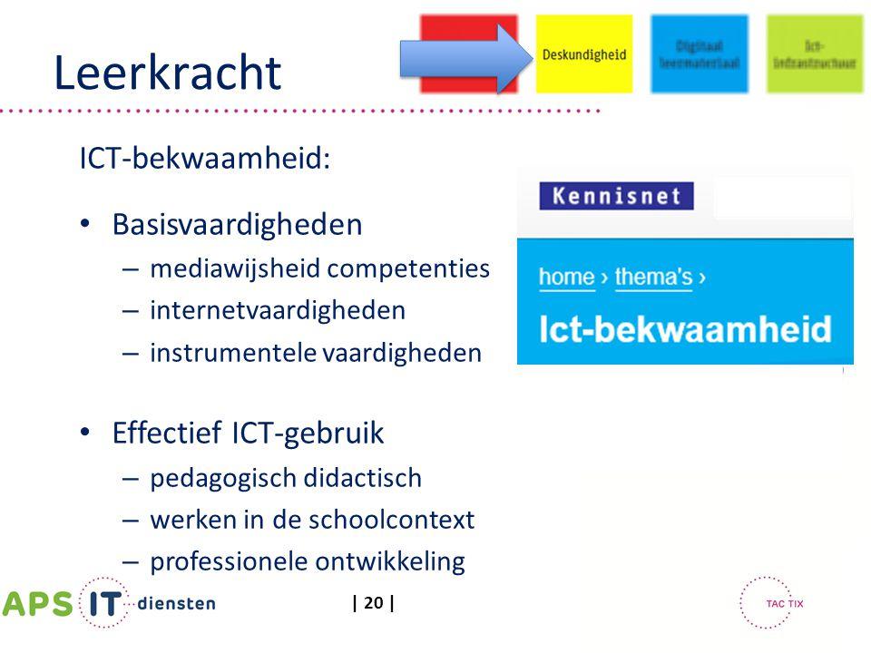 | 20 | Leerkracht ICT-bekwaamheid: Basisvaardigheden – mediawijsheid competenties – internetvaardigheden – instrumentele vaardigheden Effectief ICT-ge