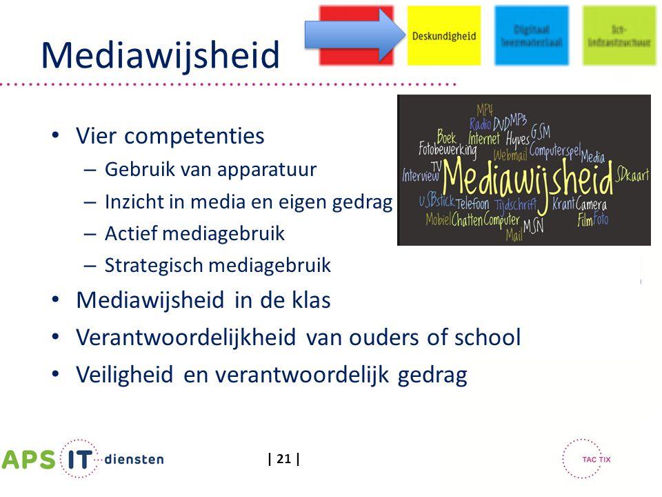 | 21 | Mediawijsheid Vier competenties – Gebruik van apparatuur – Inzicht in media en eigen gedrag – Actief mediagebruik – Strategisch mediagebruik Me