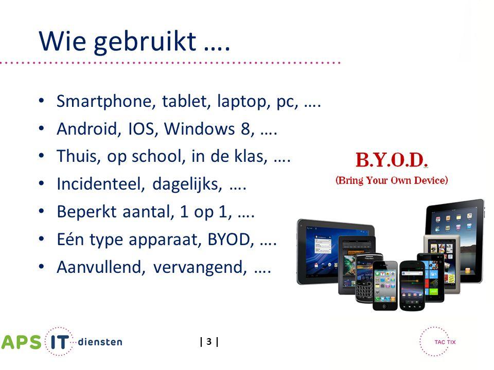 | 3 | Smartphone, tablet, laptop, pc, …. Android, IOS, Windows 8, …. Thuis, op school, in de klas, …. Incidenteel, dagelijks, …. Beperkt aantal, 1 op
