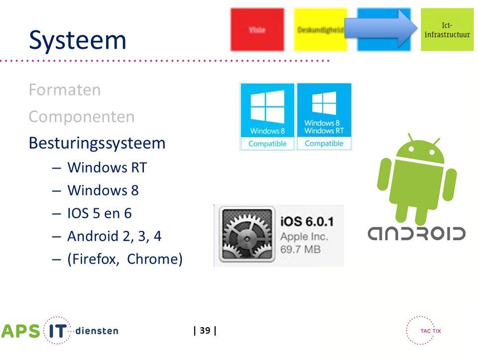 | 39 | Systeem Formaten Componenten Besturingssysteem – Windows RT – Windows 8 – IOS 5 en 6 – Android 2, 3, 4 – (Firefox, Chrome)