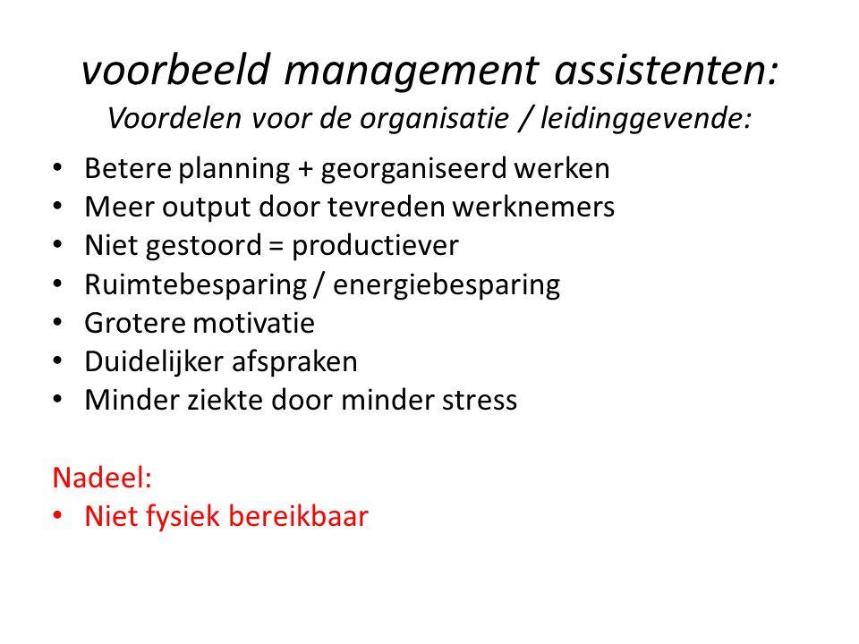 voorbeeld management assistenten: Voordelen voor de organisatie / leidinggevende: Betere planning + georganiseerd werken Meer output door tevreden wer