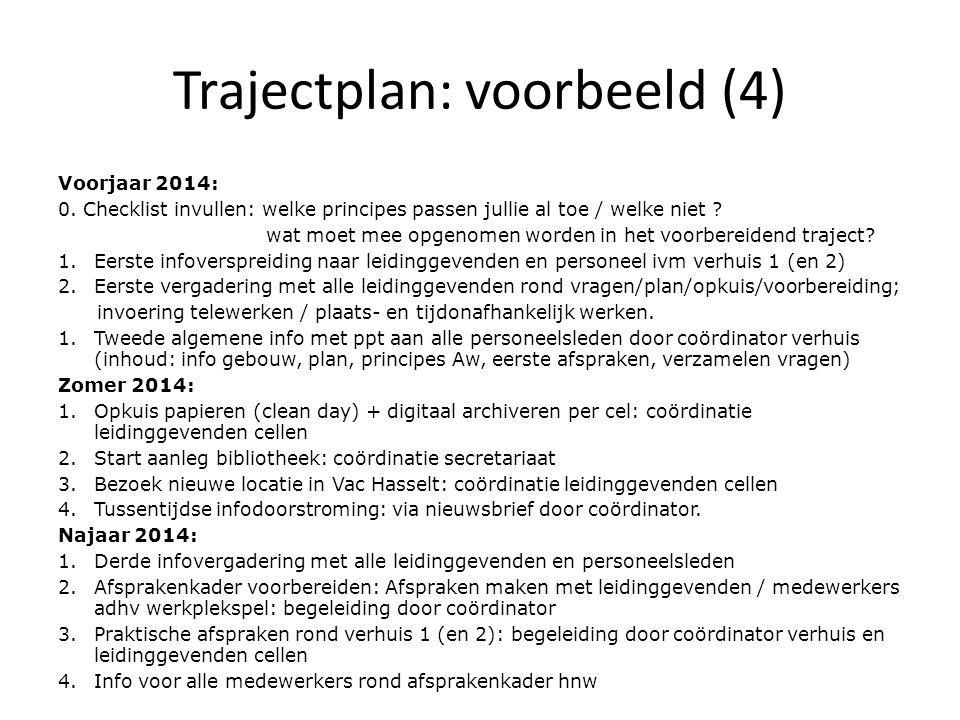 Trajectplan: voorbeeld (4) Voorjaar 2014: 0. Checklist invullen: welke principes passen jullie al toe / welke niet ? wat moet mee opgenomen worden in