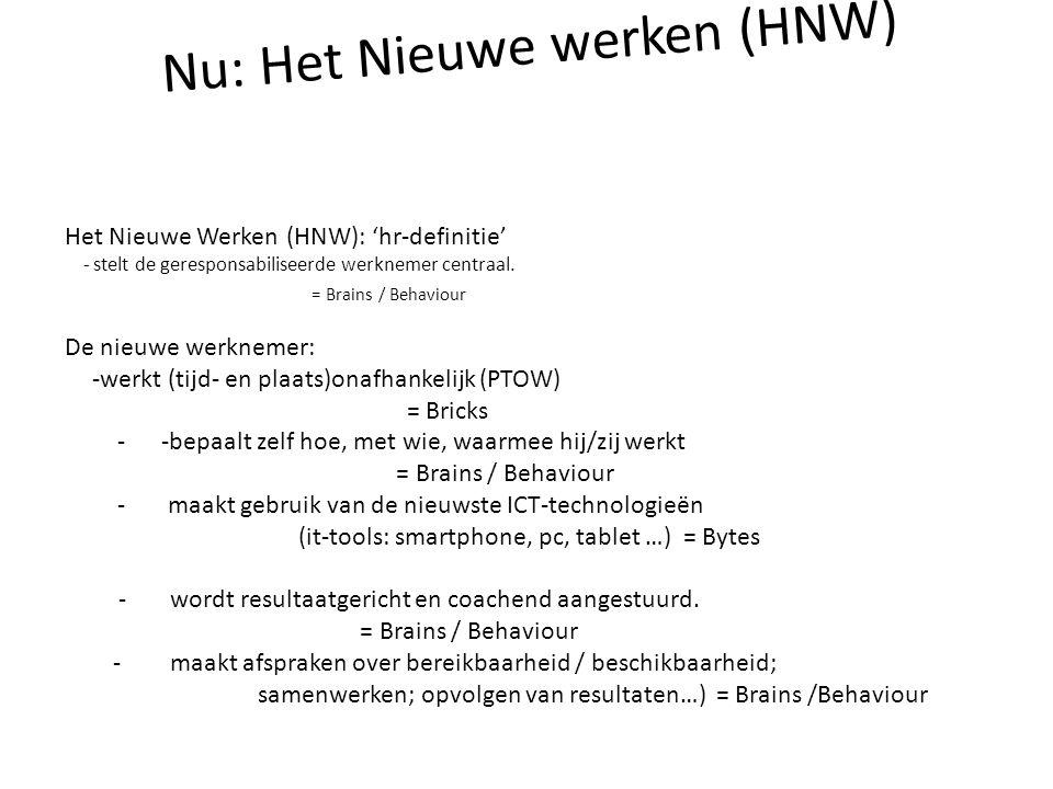 Nu: Het Nieuwe werken (HNW) Het Nieuwe Werken (HNW): 'hr-definitie' - stelt de geresponsabiliseerde werknemer centraal.