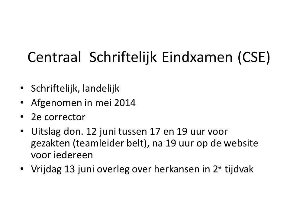 Centraal Schriftelijk Eindxamen (CSE) Schriftelijk, landelijk Afgenomen in mei 2014 2e corrector Uitslag don. 12 juni tussen 17 en 19 uur voor gezakte