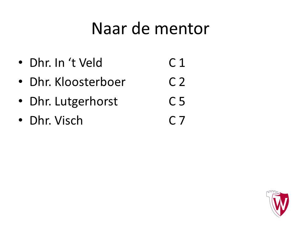 Naar de mentor Dhr. In 't Veld C 1 Dhr. KloosterboerC 2 Dhr. LutgerhorstC 5 Dhr. VischC 7