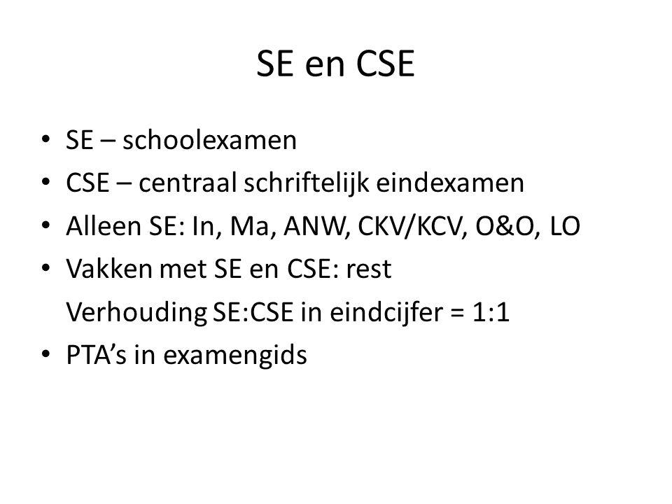 SE en CSE SE – schoolexamen CSE – centraal schriftelijk eindexamen Alleen SE: In, Ma, ANW, CKV/KCV, O&O, LO Vakken met SE en CSE: rest Verhouding SE:CSE in eindcijfer = 1:1 PTA's in examengids