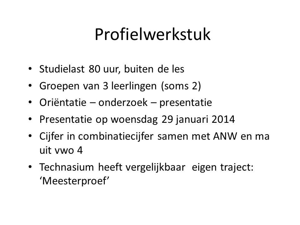 Profielwerkstuk Studielast 80 uur, buiten de les Groepen van 3 leerlingen (soms 2) Oriëntatie – onderzoek – presentatie Presentatie op woensdag 29 jan