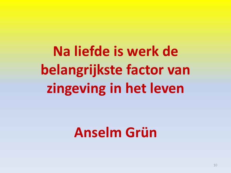 Na liefde is werk de belangrijkste factor van zingeving in het leven Anselm Grün 10
