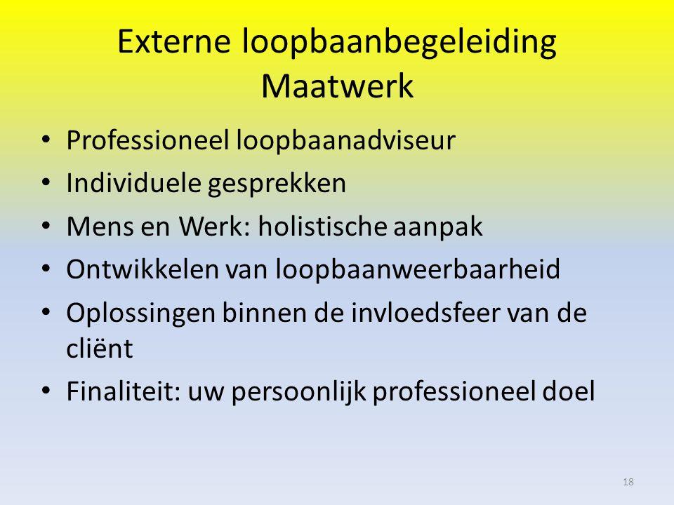 Externe loopbaanbegeleiding Maatwerk Professioneel loopbaanadviseur Individuele gesprekken Mens en Werk: holistische aanpak Ontwikkelen van loopbaanweerbaarheid Oplossingen binnen de invloedsfeer van de cliënt Finaliteit: uw persoonlijk professioneel doel 18