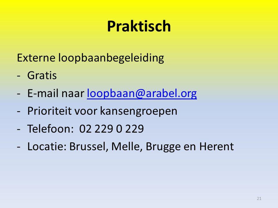 Praktisch Externe loopbaanbegeleiding -Gratis -E-mail naar loopbaan@arabel.orgloopbaan@arabel.org -Prioriteit voor kansengroepen -Telefoon: 02 229 0 229 -Locatie: Brussel, Melle, Brugge en Herent 21