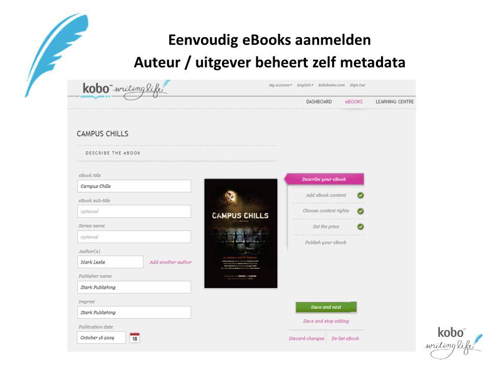 Eenvoudig eBooks aanmelden Auteur / uitgever beheert zelf metadata