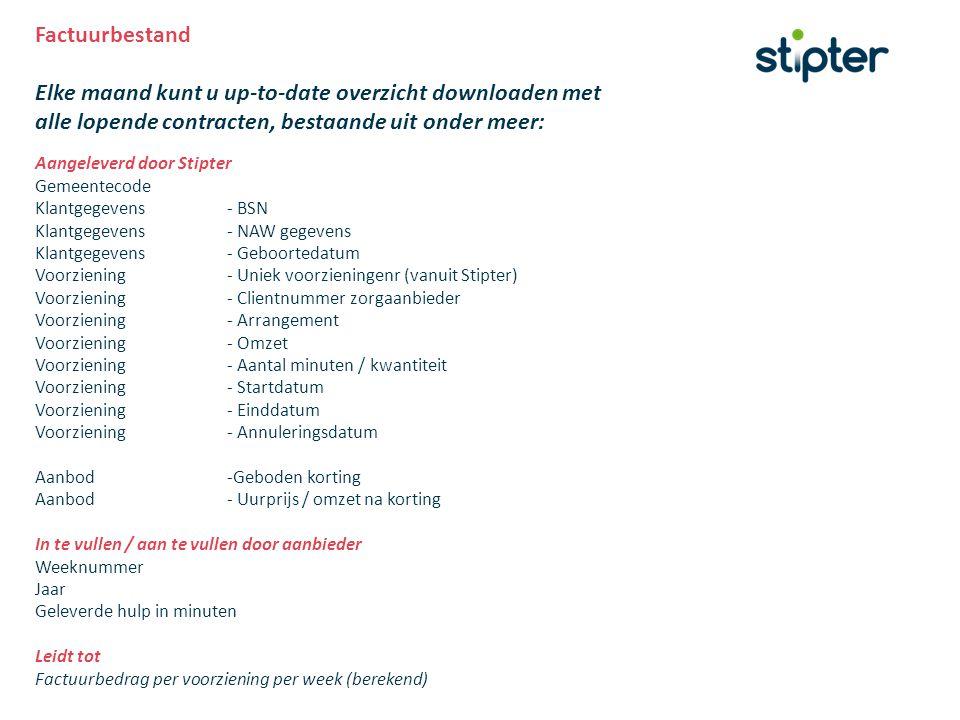 Factuurbestand Elke maand kunt u up-to-date overzicht downloaden met alle lopende contracten, bestaande uit onder meer: Aangeleverd door Stipter Gemee