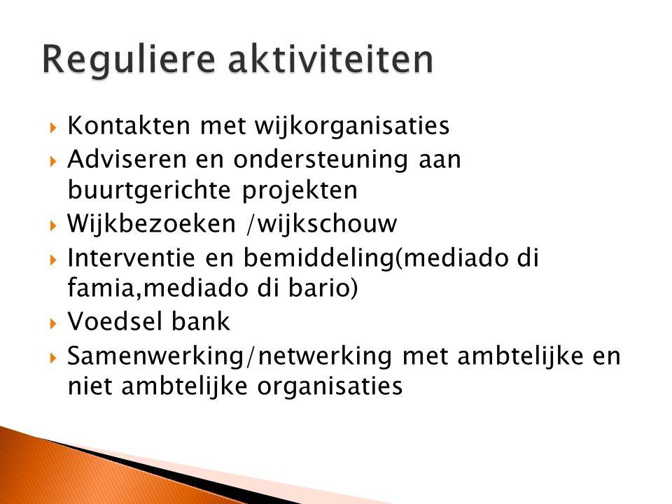  Kontakten met wijkorganisaties  Adviseren en ondersteuning aan buurtgerichte projekten  Wijkbezoeken /wijkschouw  Interventie en bemiddeling(mediado di famia,mediado di bario)  Voedsel bank  Samenwerking/netwerking met ambtelijke en niet ambtelijke organisaties