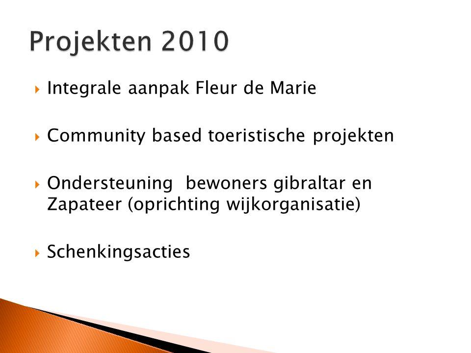  Integrale aanpak Fleur de Marie  Community based toeristische projekten  Ondersteuning bewoners gibraltar en Zapateer (oprichting wijkorganisatie)  Schenkingsacties