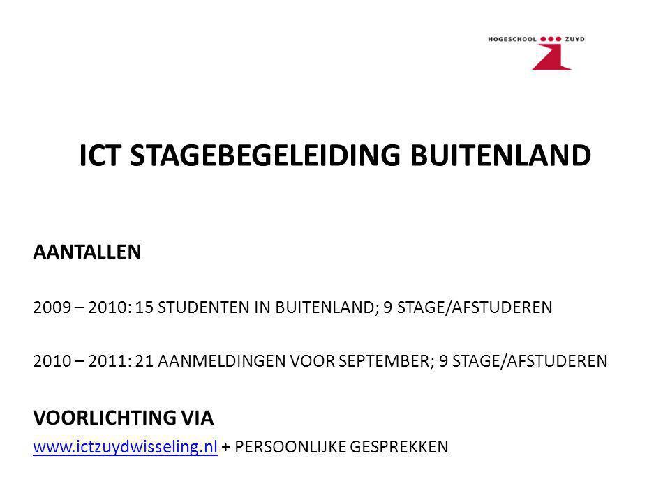 ICT STAGEBEGELEIDING BUITENLAND AANTALLEN 2009 – 2010: 15 STUDENTEN IN BUITENLAND; 9 STAGE/AFSTUDEREN 2010 – 2011: 21 AANMELDINGEN VOOR SEPTEMBER; 9 STAGE/AFSTUDEREN VOORLICHTING VIA www.ictzuydwisseling.nlwww.ictzuydwisseling.nl + PERSOONLIJKE GESPREKKEN