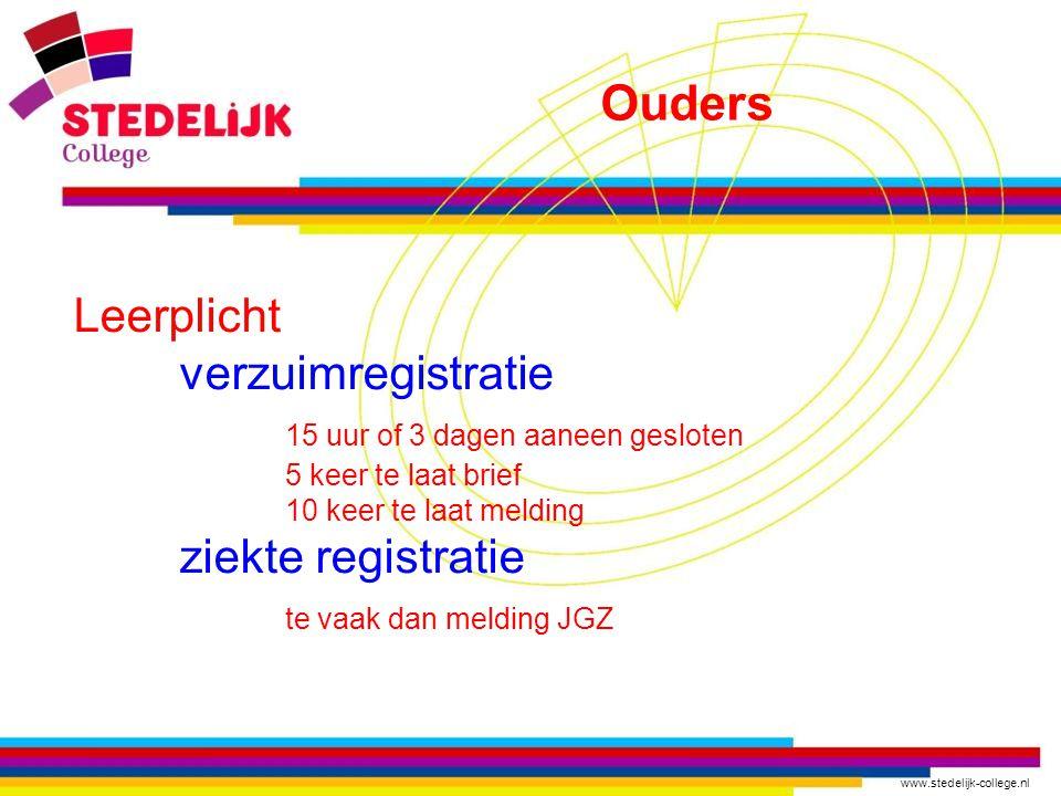 www.stedelijk-college.nl Leerplicht verzuimregistratie 15 uur of 3 dagen aaneen gesloten 5 keer te laat brief 10 keer te laat melding ziekte registratie te vaak dan melding JGZ Ouders