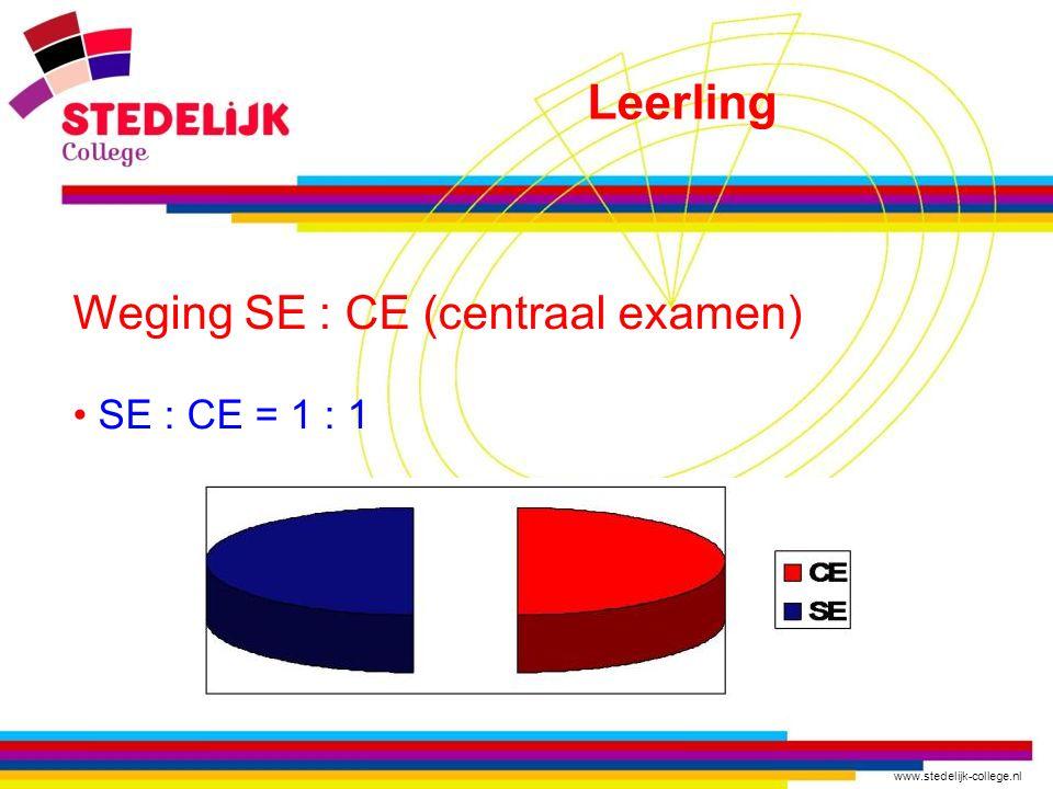 www.stedelijk-college.nl Weging SE : CE (centraal examen) SE : CE = 1 : 1 Leerling