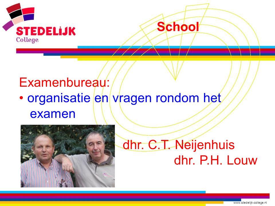 www.stedelijk-college.nl Examenbureau: organisatie en vragen rondom het examen dhr.