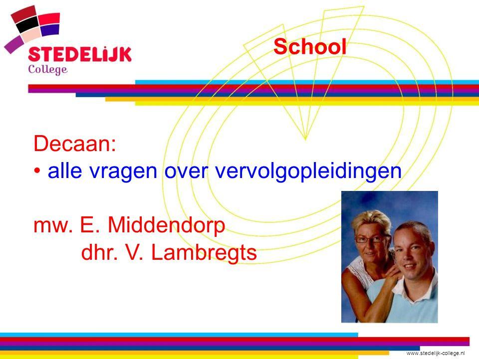 www.stedelijk-college.nl Decaan: alle vragen over vervolgopleidingen mw.
