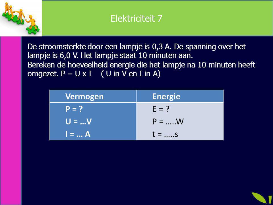 Elektriciteit 7 VermogenEnergie P = ? U = …V I = … A E = ? P = …..W t = …..s De stroomsterkte door een lampje is 0,3 A. De spanning over het lampje is