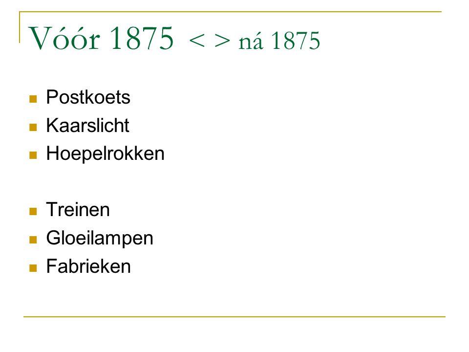 Vóór 1875 ná 1875 Postkoets Kaarslicht Hoepelrokken Treinen Gloeilampen Fabrieken