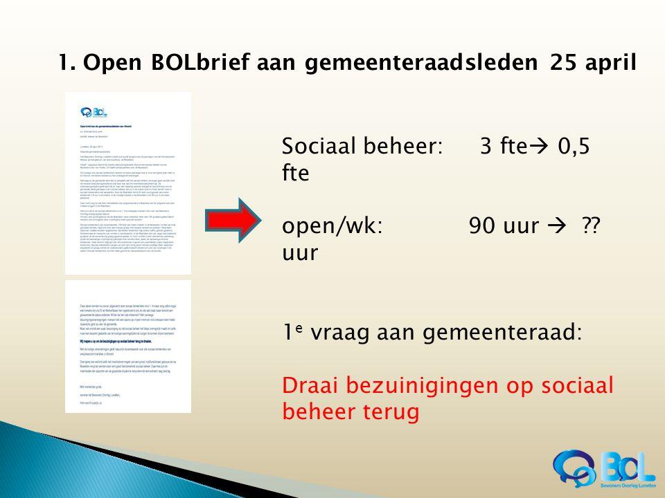 1. Open BOLbrief aan gemeenteraadsleden 25 april Sociaal beheer: 3 fte  0,5 fte open/wk: 90 uur  ?? uur 1 e vraag aan gemeenteraad: Draai bezuinigin