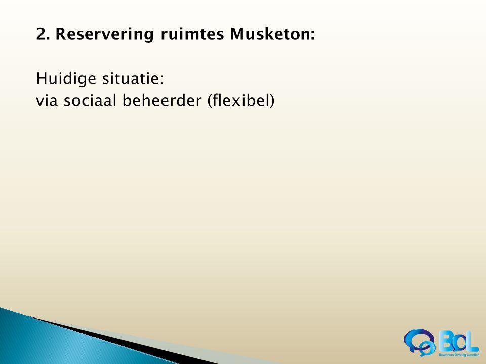 2. Reservering ruimtes Musketon: Huidige situatie: via sociaal beheerder (flexibel)