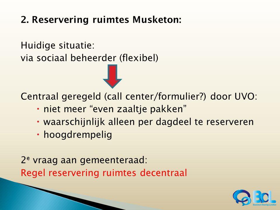 """2. Reservering ruimtes Musketon: Huidige situatie: via sociaal beheerder (flexibel) Centraal geregeld (call center/formulier?) door UVO:  niet meer """""""