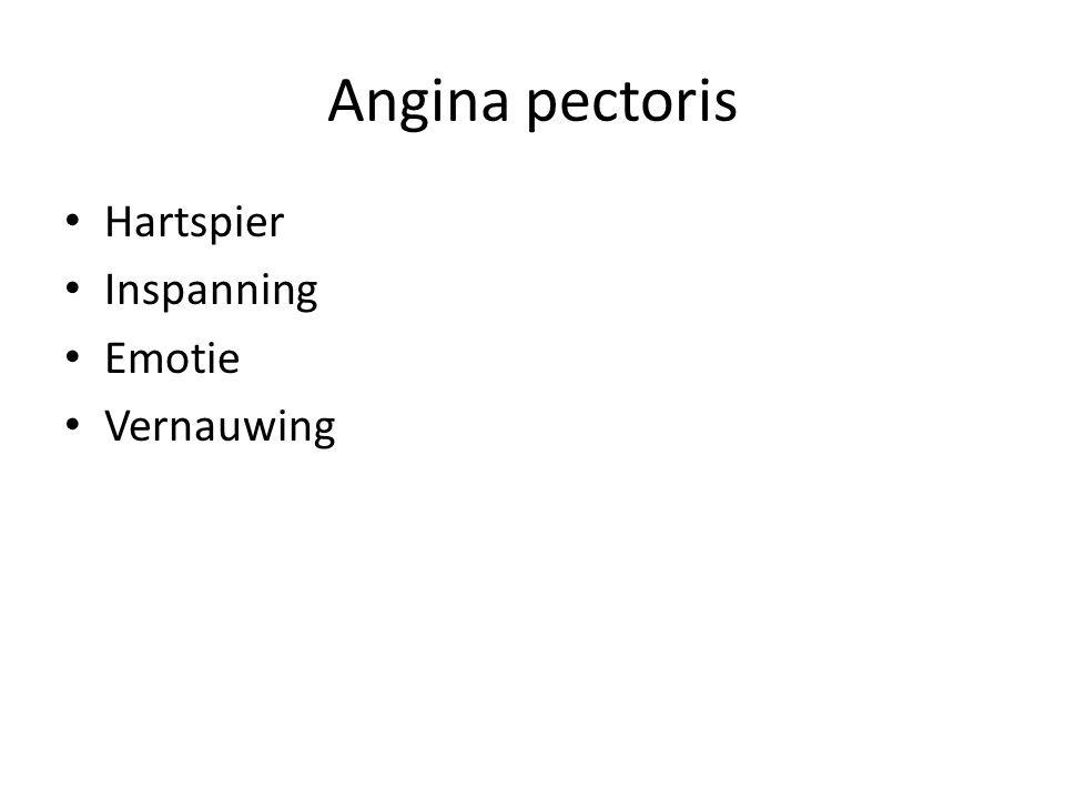 Angina pectoris Hartspier Inspanning Emotie Vernauwing