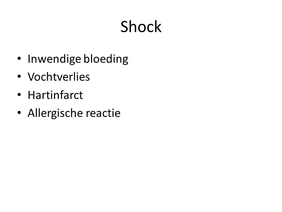 Shock Inwendige bloeding Vochtverlies Hartinfarct Allergische reactie