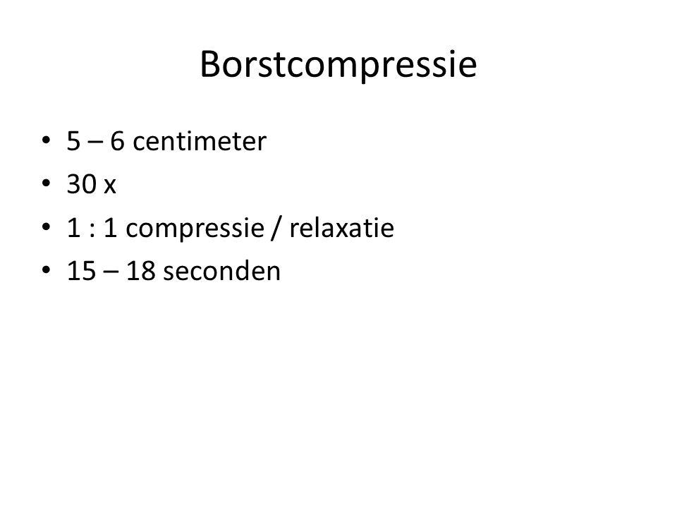 Borstcompressie 5 – 6 centimeter 30 x 1 : 1 compressie / relaxatie 15 – 18 seconden