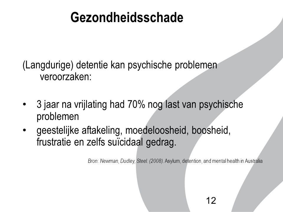 Gezondheidsschade (Langdurige) detentie kan psychische problemen veroorzaken: 3 jaar na vrijlating had 70% nog last van psychische problemen geestelij