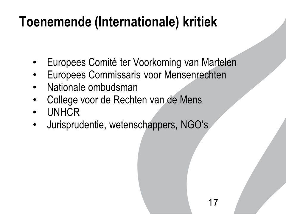 Toenemende (Internationale) kritiek Europees Comité ter Voorkoming van Martelen Europees Commissaris voor Mensenrechten Nationale ombudsman College vo
