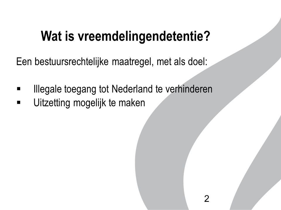 Een bestuursrechtelijke maatregel, met als doel:  Illegale toegang tot Nederland te verhinderen  Uitzetting mogelijk te maken Wat is vreemdelingende