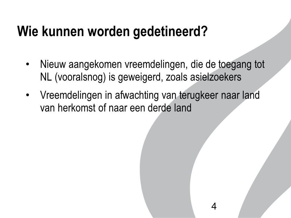 Wie kunnen worden gedetineerd? Nieuw aangekomen vreemdelingen, die de toegang tot NL (vooralsnog) is geweigerd, zoals asielzoekers Vreemdelingen in af