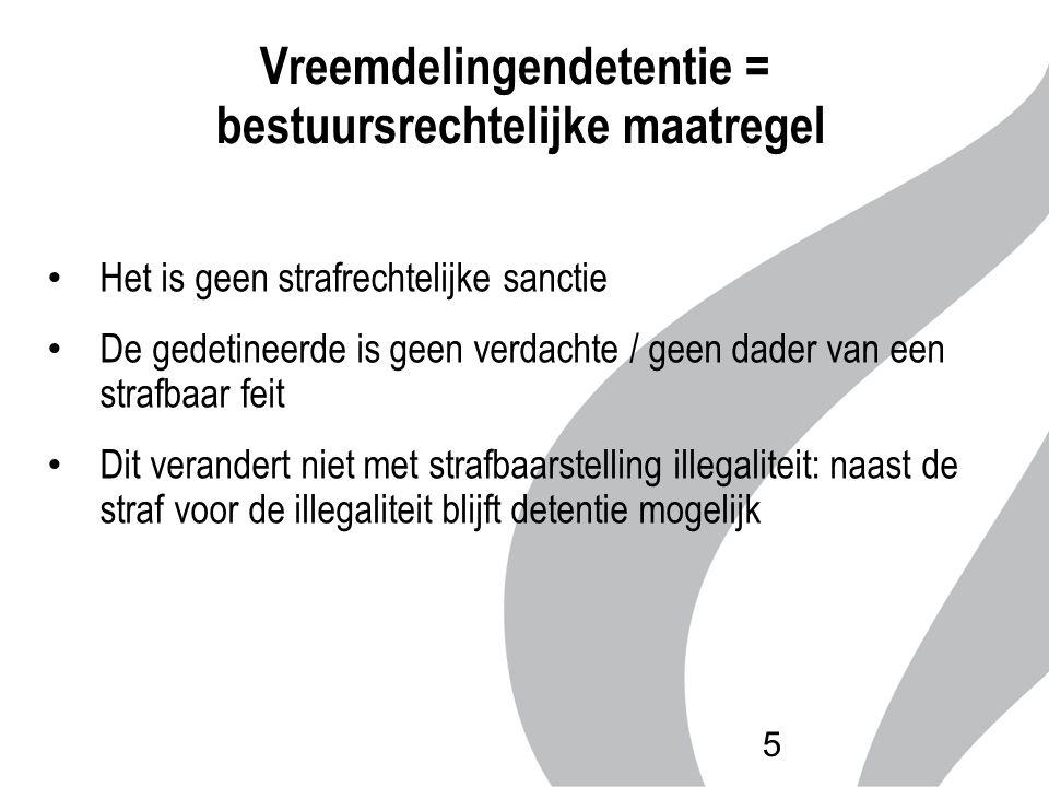 Vreemdelingendetentie = bestuursrechtelijke maatregel Het is geen strafrechtelijke sanctie De gedetineerde is geen verdachte / geen dader van een stra