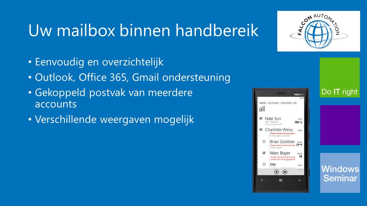 Uw mailbox binnen handbereik Eenvoudig en overzichtelijk Outlook, Office 365, Gmail ondersteuning Gekoppeld postvak van meerdere accounts Verschillend