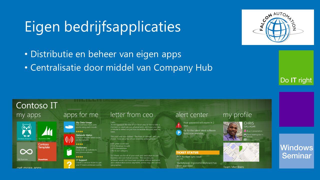 Eigen bedrijfsapplicaties Distributie en beheer van eigen apps Centralisatie door middel van Company Hub