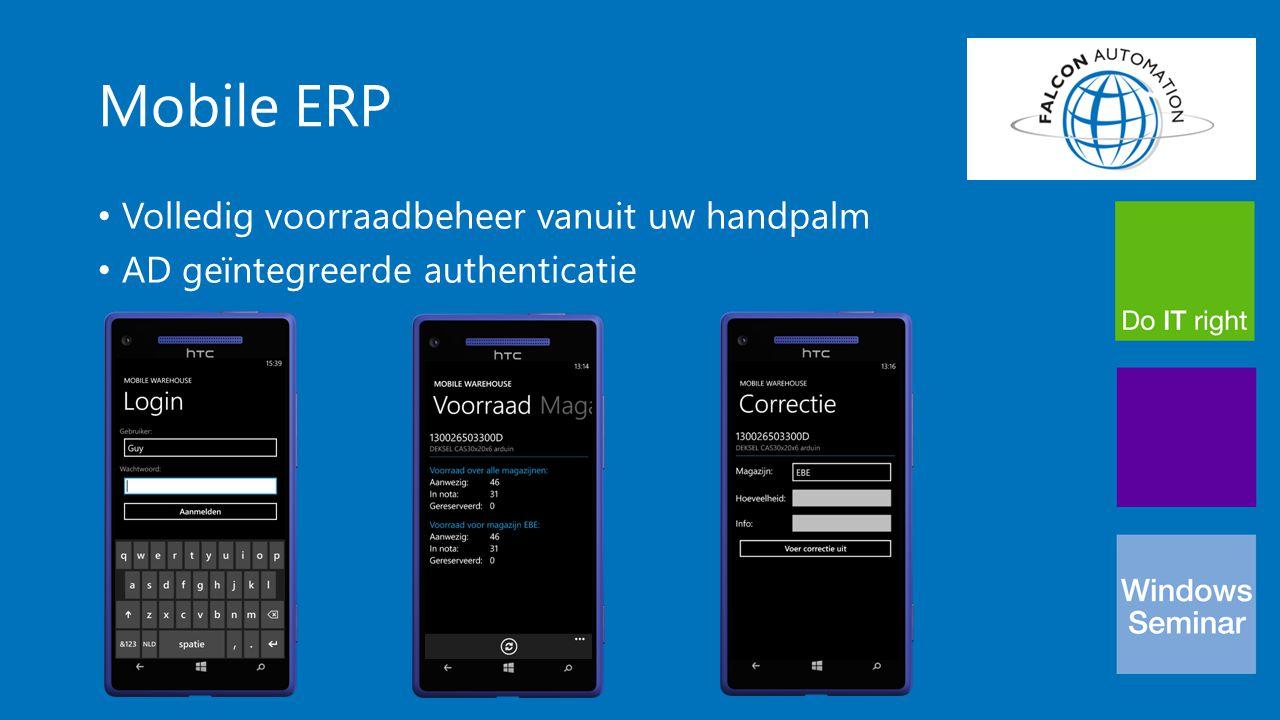 Mobile ERP Volledig voorraadbeheer vanuit uw handpalm AD geïntegreerde authenticatie