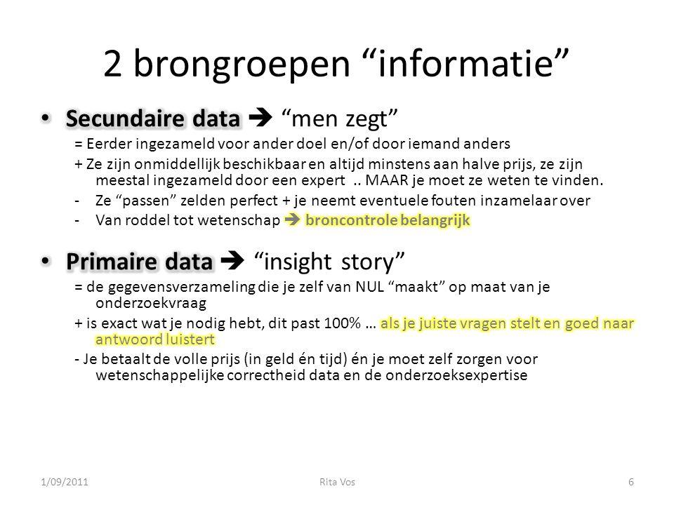 """2 brongroepen """"informatie"""" 1/09/20116Rita Vos"""
