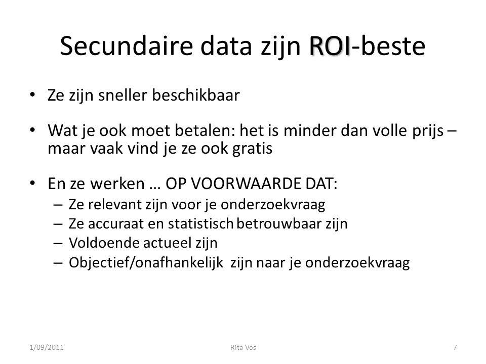 ROI Secundaire data zijn ROI-beste Ze zijn sneller beschikbaar Wat je ook moet betalen: het is minder dan volle prijs – maar vaak vind je ze ook grati