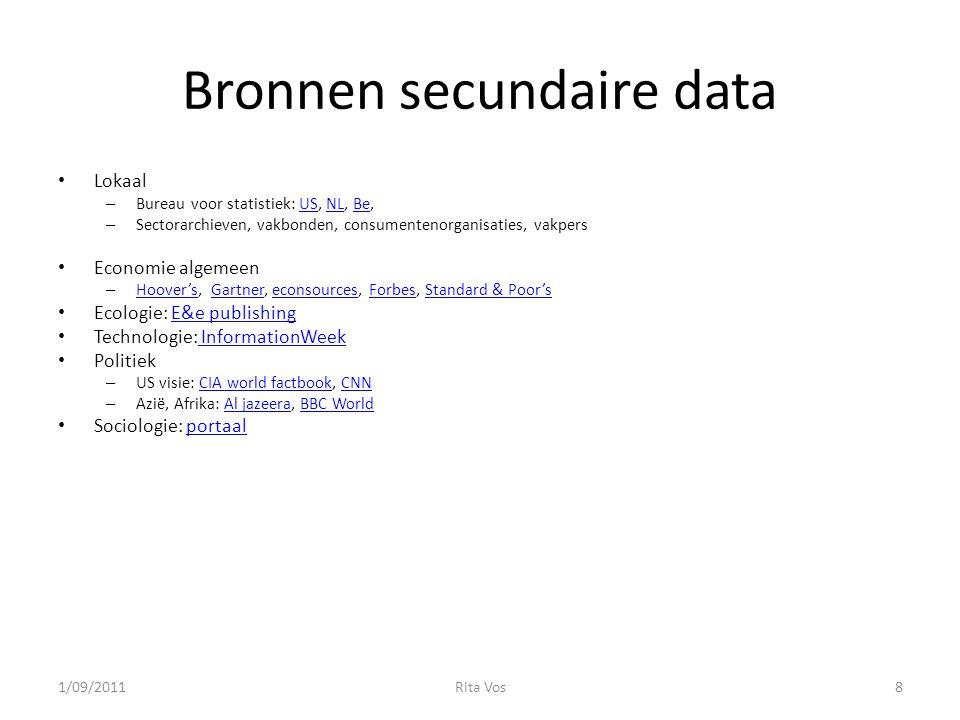 Bronnen secundaire data Lokaal – Bureau voor statistiek: US, NL, Be,USNLBe – Sectorarchieven, vakbonden, consumentenorganisaties, vakpers Economie alg