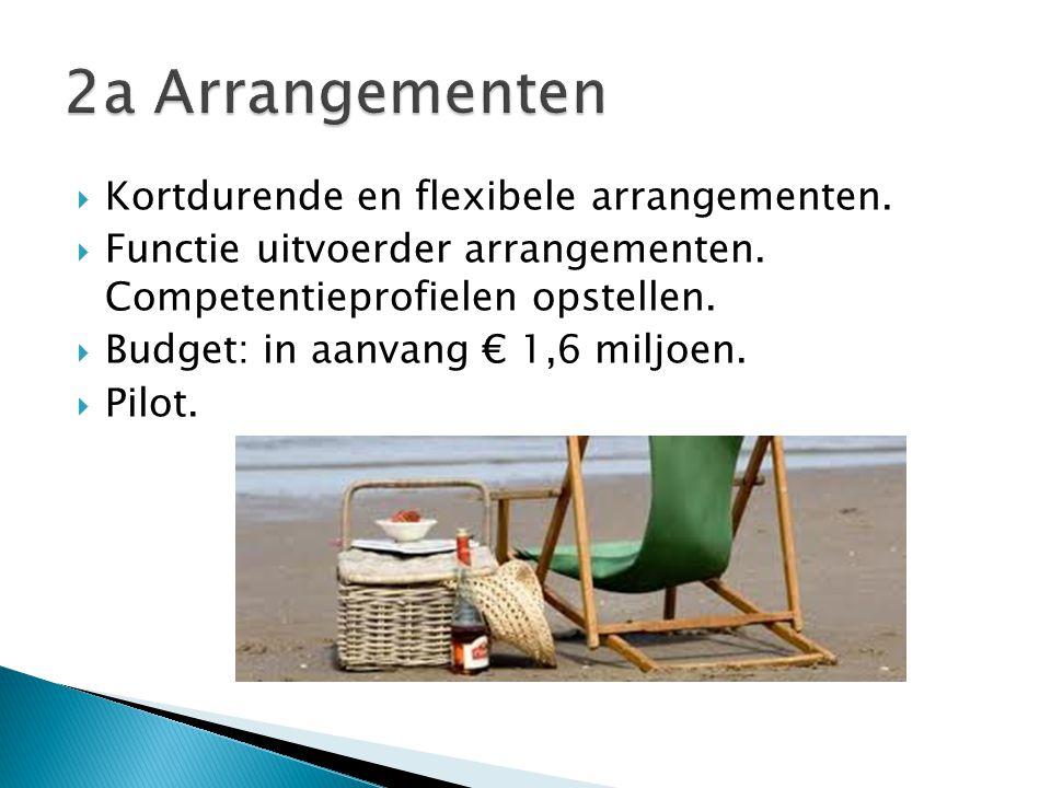  Kortdurende en flexibele arrangementen.  Functie uitvoerder arrangementen.