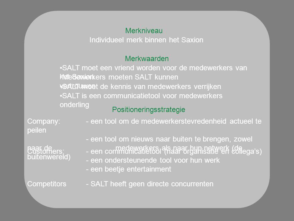 Merkniveau Merkwaarden Positioneringsstrategie Individueel merk binnen het Saxion SALT moet een vriend worden voor de medewerkers van het Saxion Medewerkers moeten SALT kunnen vertrouwen SALT moet de kennis van medewerkers verrijken SALT is een communicatietool voor medewerkers onderling Company: - een tool om de medewerkerstevredenheid actueel te peilen - een tool om nieuws naar buiten te brengen, zowel naar de medewerkers als naar hun netwerk (de buitenwereld) Customers: - een communicatietool (naar organisatie en collega's) - een ondersteunende tool voor hun werk - een beetje entertainment Competitors- SALT heeft geen directe concurrenten