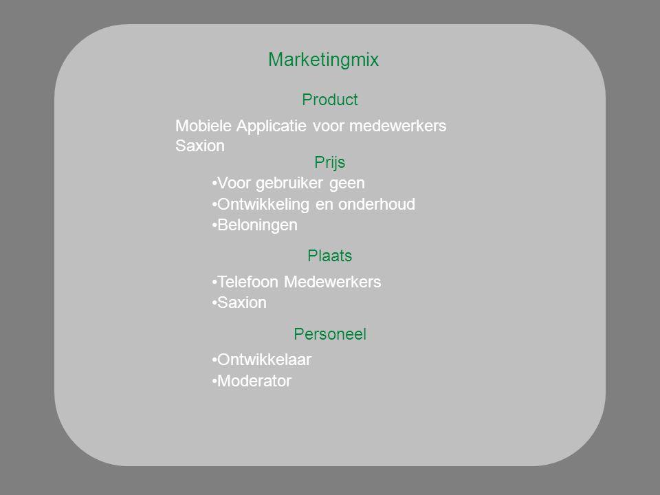 Marketingmix Product Plaats Mobiele Applicatie voor medewerkers Saxion Prijs Voor gebruiker geen Ontwikkeling en onderhoud Telefoon Medewerkers Saxion Personeel Ontwikkelaar Moderator Beloningen