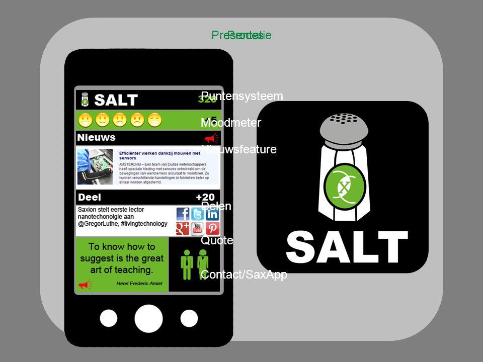 Presentatie Puntensysteem Moodmeter Nieuwsfeature Delen Quote Contact/SaxApp Proces