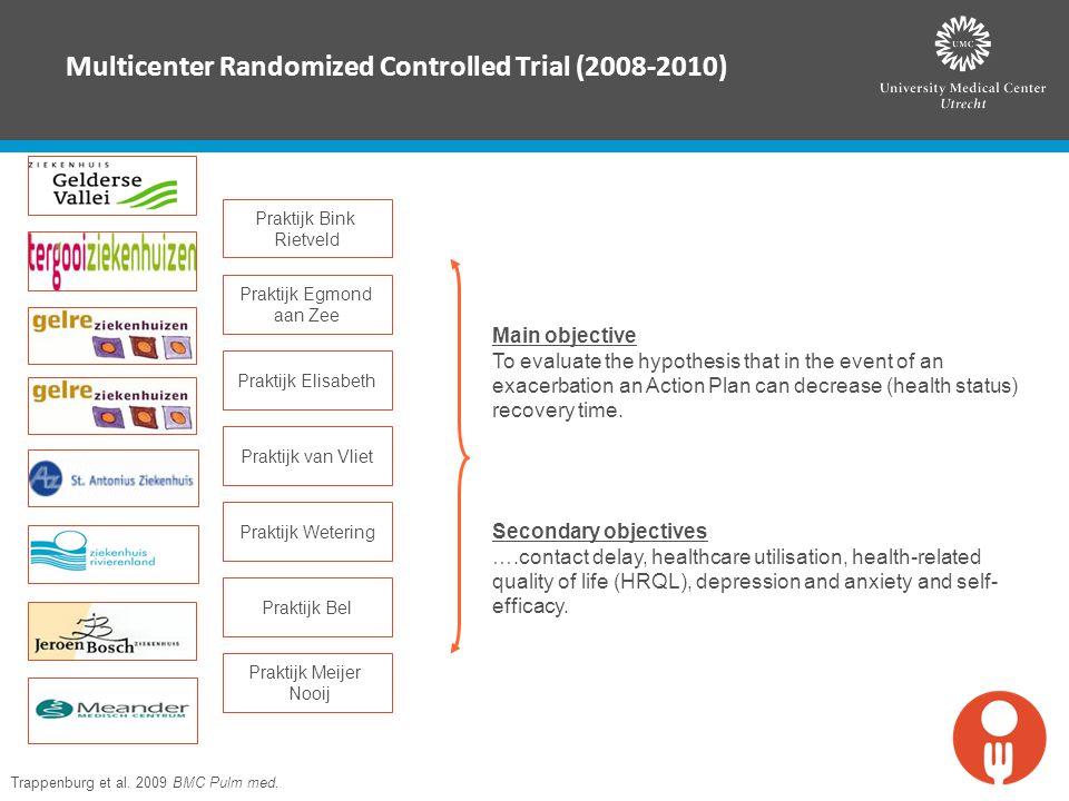 Multicenter Randomized Controlled Trial (2008-2010) Trappenburg et al. 2009 BMC Pulm med. Praktijk Bink Rietveld Praktijk Egmond aan Zee Praktijk Elis