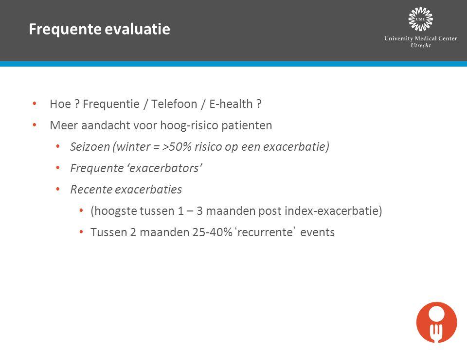 Frequente evaluatie Hoe ? Frequentie / Telefoon / E-health ? Meer aandacht voor hoog-risico patienten Seizoen (winter = >50% risico op een exacerbatie