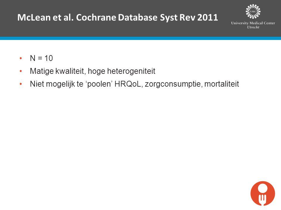 McLean et al. Cochrane Database Syst Rev 2011 N = 10 Matige kwaliteit, hoge heterogeniteit Niet mogelijk te 'poolen' HRQoL, zorgconsumptie, mortalitei